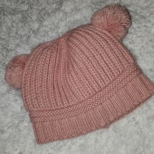 🌹Pink Baby Cable Knit Pom Pom Hat